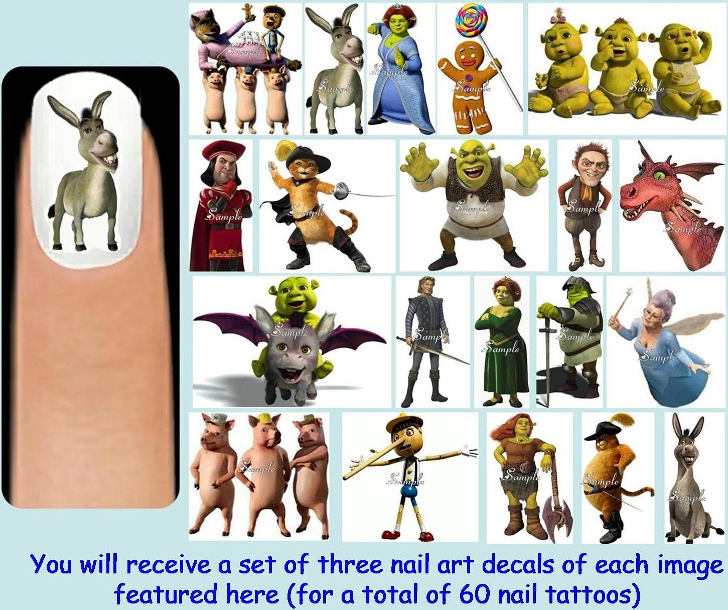 Shrek Ears Clip Art 60x shrek inspired nail art