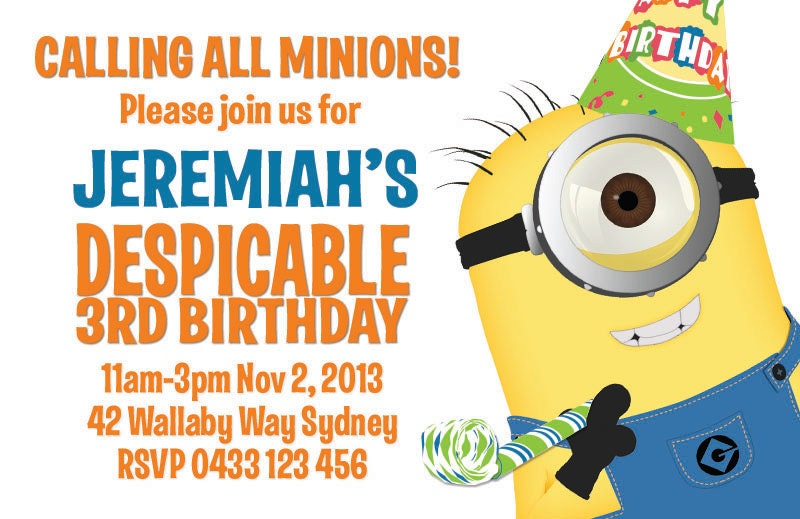 Despicable Me Minion Birthday Party Invitation by ...