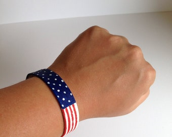 American Flag. Hand painted canvas bracelet.