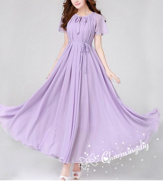 100 Colors Chiffon Light Purple Short Sleeve Long By
