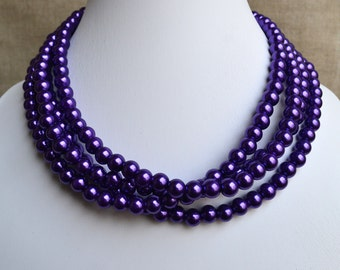 purple pearl necklace,wedding necklace,bridesmaids necklace,glass pearls necklaces,necklace,wedding pearl necklace,party pearl necklaces,