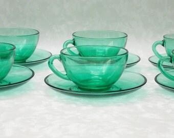 Coffee Cup Set, Espresso Cups, Arcoroc Green Glass, Six Piece Set, French Glass, Espresso Set, Green Glass, Coffee Set  - 1960s
