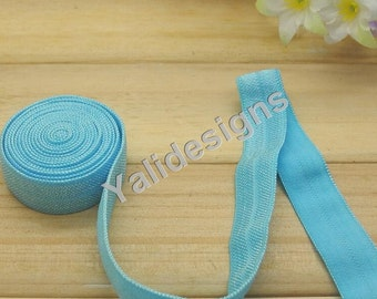 10 Yards 3/8''  Blue Elastic Headband Baby Hairbow Soft Foldover Elastic Binding Webbing Tape Craft Sewing  - YTA13