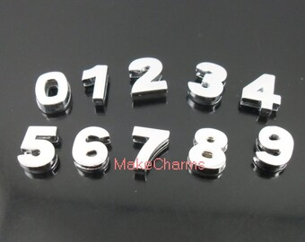 10pcs Set of Arabic Numbers Charms 10mm Shiny Polished Metal Numbers 0-9 Slide Beads,DIY Jewelry Accessories,Fit Leather Band wristband