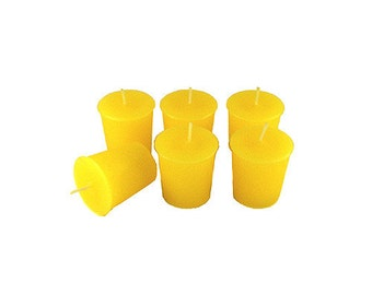 12 Yellow Classic Hand-poured Unscented Votive Candles