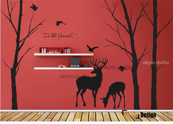 Deer forest wall stickers deer forest wall by for Deer wall mural
