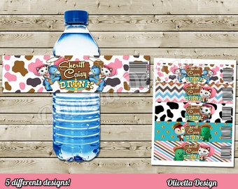 Sheriff Callie BIRTHDAY party Printable - Bottle Labels - 5 Models Included! Personalized - Digital File