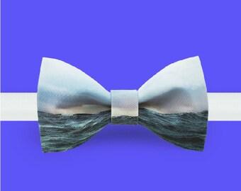 Sea Bowtie - Scenery bowtie - Blue bowtie - Adjustable bowtie