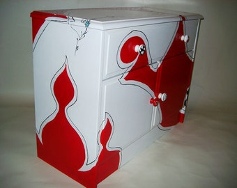 Chest of drawers white-red hand painted