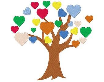 Heart Tree Machine Embroidery Design, Heart Design, Heart Embroidery, Filled stitch, 4X4 5X7 6X10, Instant download