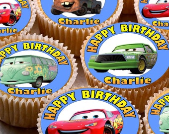 24 x Personalised Cars Mix Cup Cake Toppers with Any Name Happy Birthday