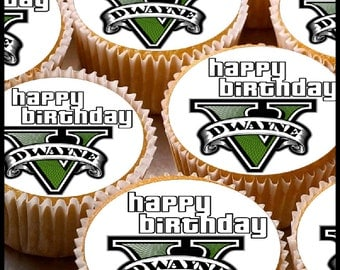 24 x Personalised Grand Theft Auto 5 Fan Cup Cake Toppers with Any Name Happy Birthday
