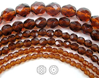 4mm (102pcs) Dark Topaz, Czech Fire Polished Round Faceted Glass Beads, 16 inch strand
