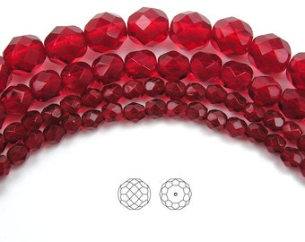 12mm (34pcs) Siam, Czech Fire Polished Round Faceted Glass Beads, loose (equals 16 inch strand)