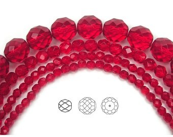 8mm (51pcs) Light Siam, Czech Fire Polished Round Faceted Glass Beads, loose (equals to 16 inch strand)