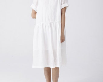 Womens White Linen Dress Thin Short Sleeve Peterpan Collar Pleated Dress
