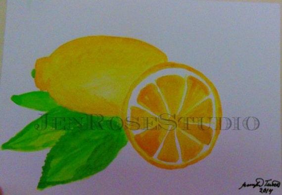 Yellow Lemon Painting Original Watercolor By Jenrosestudio