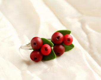Cranberry Earrings Handcrafted Polymer Clay Berries