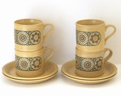 Hornsea Style Vintage Set of 4 Stoneware Coffee Mugs and Saucers / Retro Tea Cups / Tea Set with Yellow Flowers