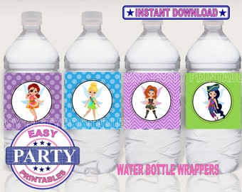 SALE Pirate Fairy Instant Download water bottle wrappers easily print from home, Pirate Fairy downloads, printable wrappers, DIY downloads