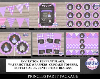 70% OFF Sofia the First Chalkboard Party Package, instant download, pennant flag banner, bottle wrappers, cupcake toppers, DIY, buffet cards