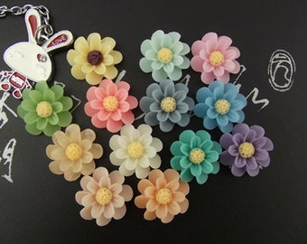 20pcs   Mixed in 10 colors Resin Flower Cameo Cabochon.