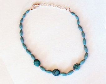 Blue Turquoise and Silver Findings Necklace