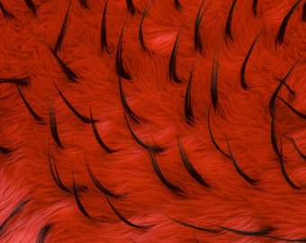 2 Tone Spike Faux / Fake Fur Red Black Fabric