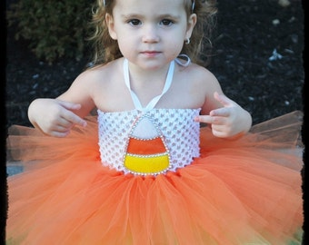 Halloween Costume Handmade Gorgeous Candy Corn Tutu w/Headband