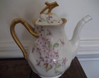 """T&V Limoges Tea Pot - Handpainted Violets - 7"""" tall."""