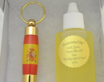 LDS Consecrated Oil Vial with the Spanish Flag Key Chain