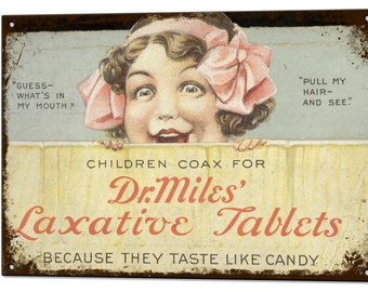 Laxative Tablets Vintage Metal Sign Retro Tin Plaque Advert