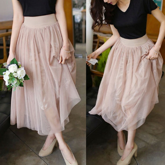 how to wear long nude colour tulle skirt