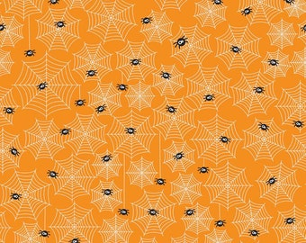 Riley Blake Orange w/Spiders & Webs 573