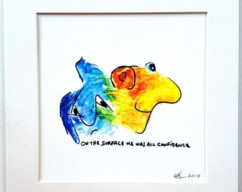 "Giclee  Print  Bright  Yellow  Blue  Pop Art  Confidence  11x11"" Colorful Watercolor"