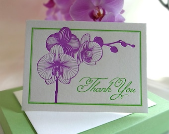 Orchid Letterpress Thank You Card
