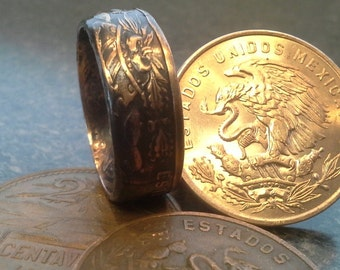 Mexican 20 Centavos Coin Ring