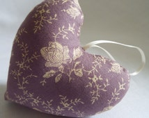 purple vintage style fabric heart with ribbon
