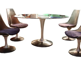 Chromcraft Dining Table and Chairs Oval Smoked Glass