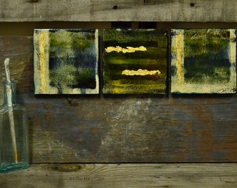 Abstract Ceramic Wall Art: Ceramic, acrylic and gold leaf - Set of 3