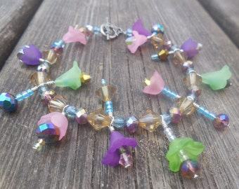 Fantasy Crystal Lucite Flower Bracelet