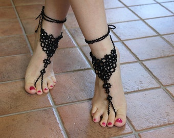 Tatted barefoot sandals