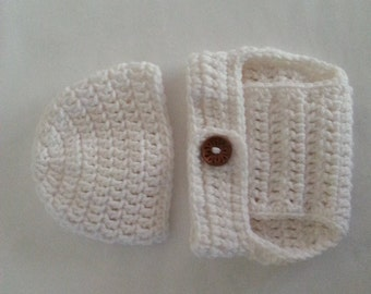 Crochet Diaper Cover Hat Set in White