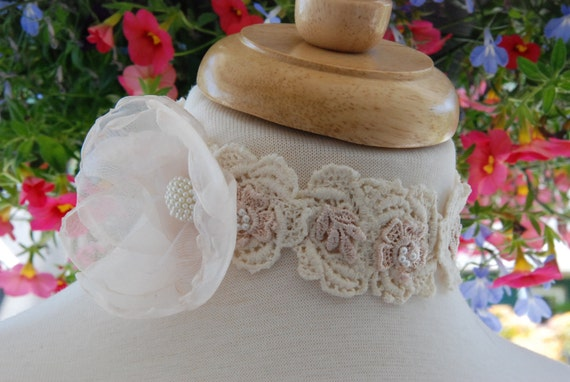 Organza fabric flower and hand-beaded vintage lace choker