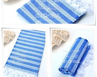 Bath Towel SET of 3 - Turkish Beach Towel Peshtemal Towel Fouta Towel Wrap Bathroom Towel Bath French Linen Towel  Beach Sarong Towel Blue