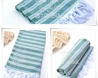Beach Towel SET of 3 - Turkish Bath Towel Peshtemal Towel Fouta Towel Wrap Bathroom Towel Bath French Linen Towel  Beach Sarong Towel Green
