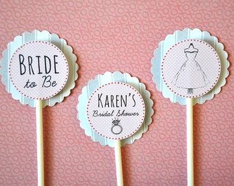 12 Personalized Bridal Shower Cupcake Toppers Wedding 3D - 2 Layers