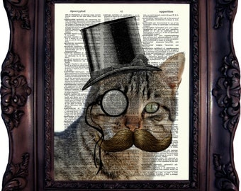 Steampunk Cat Print on book page. Dictionary art print. Cat Art print. Dictionary print. Geekery. Cat in Top Hat. Cat Print. Nerd. Code:333