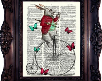 Alice in Wonderland Print on Book Page. Alice in Wonderland Decoration. Alice in Wonderland Decor. White Rabbit. Alice wall Art. Code:147