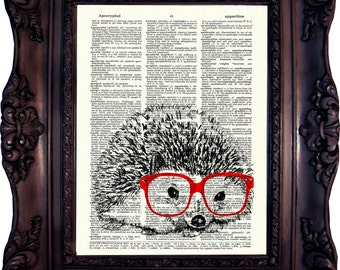 Hedgehog in Nerd Hedgehog Dictionary Art Print Hedgehog Decor Hedgehog Wall Art Hedgehog print on Book page Hedgehog print. Code:346